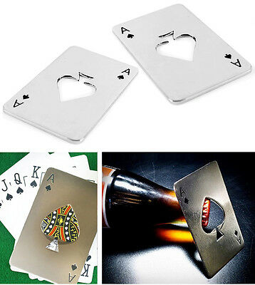Bar Tool Bottle Soda Beer Cap Opener Gift Playing Card Ace of Spades Poker New