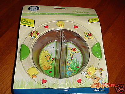 Gerber Little Suzy's Zoo Green DIVIDED FOOD DISH BOWL Witzy heart ladybug RARE