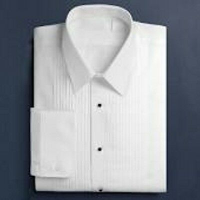 "White 1/4"" Pl;eat Laydown Collar Tuxedo Shirt"