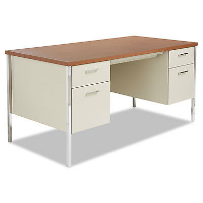 Alera Double Pedestal Steel Desk, Metal Desk, 60w x 30d x 29-1/2h, Cherry/Putty
