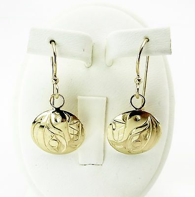 North American Native by D. Neel Gold 18K Hand Carved Earrings