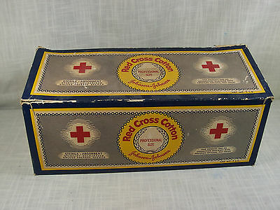 Vintage Johnson and Johnson Red Cross Cotton Box  Advertising Empty