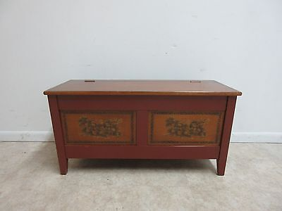 Vintage Rare Hitchcock Paint Decorated Trunk Storage Hope Chest