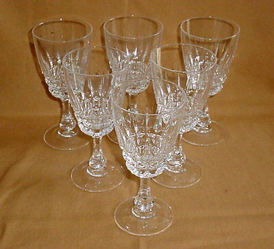 Cristal D'Arques Durand Pompadour Lead Crystal Water Goblets Stems Lot of 6