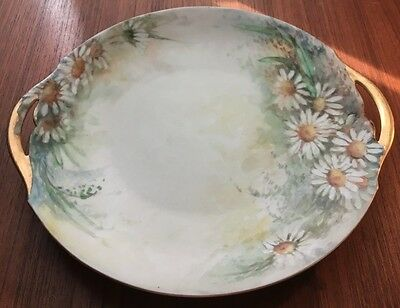 Vintage Paul Muller Selb Bavaria Hand Painted Floral Double Handle Plate