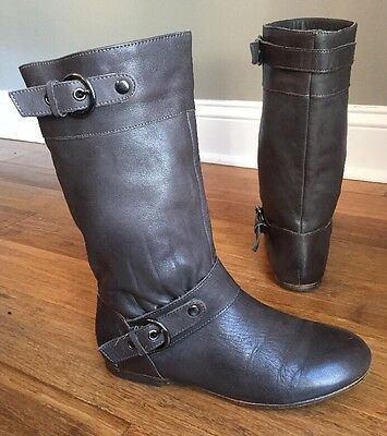 Star Ling Women's Gray Leather Mid Calf Silver Buckle Boots US 6.5 Julian