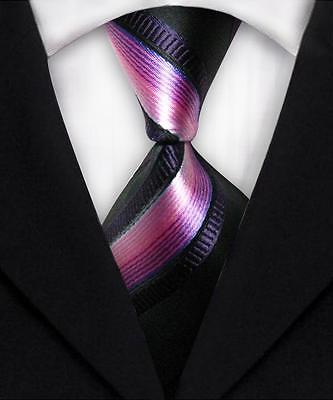 Pink, Black, And Purple Striped Classic 100% Silk Men's Necktie A2112