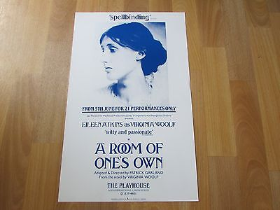 A Room of One's Own Eileen WATKINS as WOOLF Original PLAYHOUSE Theatre Poster