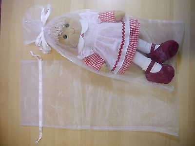 BULK 25 Organza bags white, very large 25 x 57cm, gift wedding personalised doll