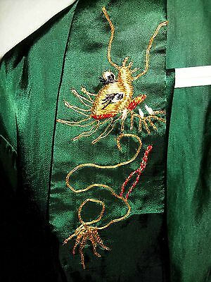 Vintage 1950s Japanese Embroidered Dragon SilkPajamas Lounge Outfit! Size S!