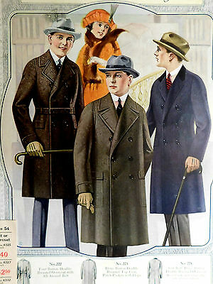 """Vintage 1924 Advertising Poster ROYAL TAYLORS Overcoat Styles ~ 12"""" x 17"""""""