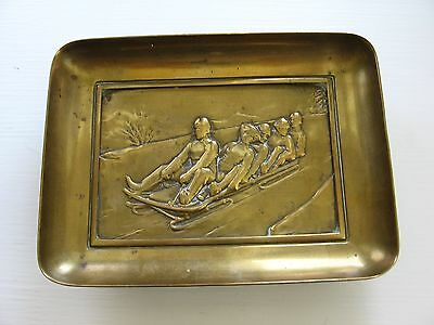 Antique/Vintage Brass Footed Tray/Plate Toboggan Riders Relief