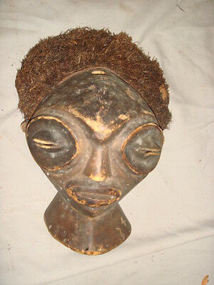 Very Old African Carved Wood & Straw on Burlap Mask
