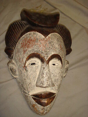 Old African Carved Wood Large Painted Man's Sabou Mask