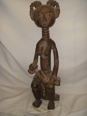 Old African Carved Wood Tall Woman Sitting with Child Figure Statue