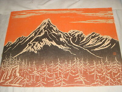 Mid-Century Japanese Print of Fabric Mt Fuji Mountain Scene