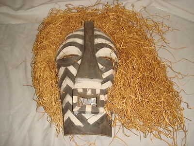 Antique African Carved Wood with Straw & Woven Work Mask