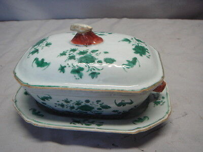 Antique Chinese Export Porcelain Famille Verte Vegetable Tureen & Tray