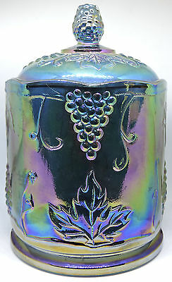 Indiana Blue / Purple Glass Harvest Grape Carnival Glass Candy Jar w/ Lid