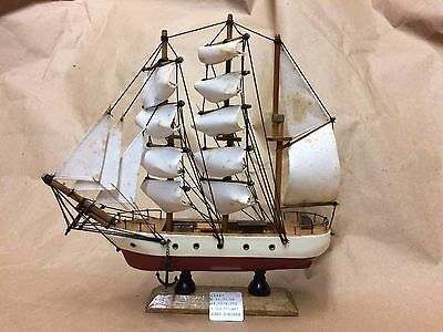 "Antique Wooden Model Coast Guard Schooner Ship 9.5"" X 9.5"""