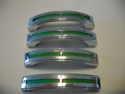 4 Vintage Chrome Drawer Pulls GREEN Inset Lines Cabinet Handles Stanley Art Deco