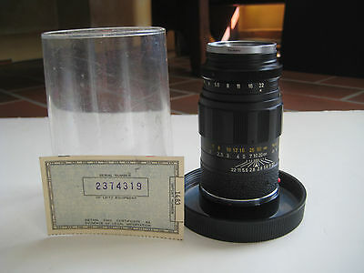 Vintage Leitz Wetzlar Elmarit 1:2.8/90 Camera Lens w/ Import Ceretificate