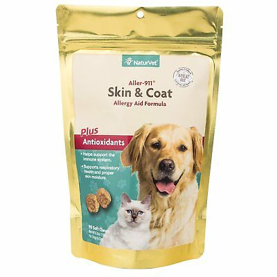 NaturVet Aller-911 Allergy Aid Skin and Coat Dog and Cat Soft Chew 90 count