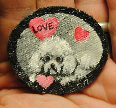 Original Painting~Bichon Frise~Dog~Hand Painted~Valentine~PATCH~Sew on~Whimsical