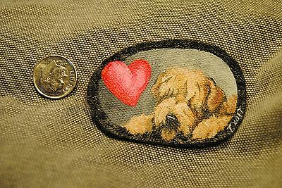 Original Painting~Wheaten Terrier~Dog~Hand Painted~Valentine~PATCH~Sew~Whimsical