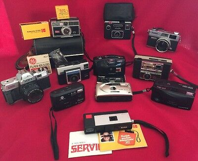 Lot 11 Vintage CAMERAS KODAK FUJI OLYMPUS VIVITAR MINOLTA CANON Part Repair Lot