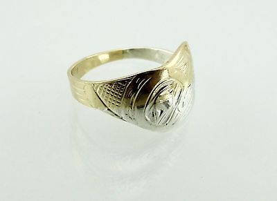 Native 14K Yellow Gold Sterling Silver Hand Carved Artisan Signed Ring