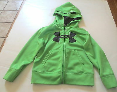 Under Armour Green/ Blk Gray Symbol Zip Front Hoodie Boys  Size 5 # 376