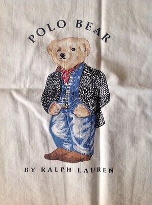 """One Ralph Lauren Polo Bear in Suit Pillowcase 30 X 18.5"""" EUC Double Sided Queen"""