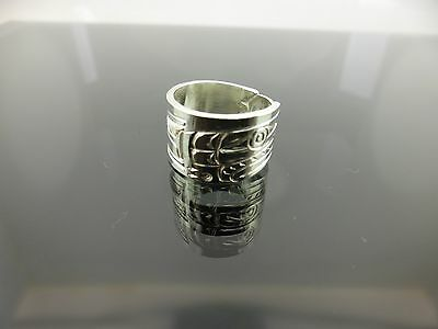 Native 925 Sterling Silver Hand Carved with Artisan Hallmark Ring