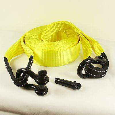 13.5T 10M Heavy Duty Recovery Winch Tow Snatch Strap Rope Towing with Shackles