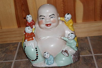 Antique Vintage Large Buddha Children Figurine Statue Marked Porcelain Painted