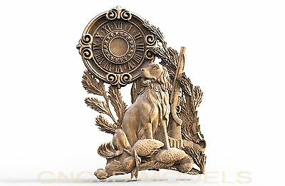 3D Model STL for CNC Router Engraver Carving Artcam Aspire Clock Dog Hunt 1805