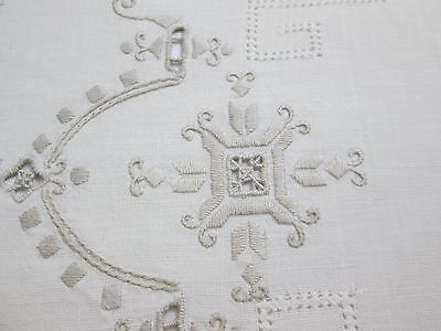 Antique Victorian Linen Drawn Work Embroidery Placemats Set of 3
