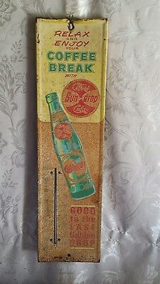 Vintage Sundrop Citrus Cola Advertising Thermometer ~ Country Store ~ Embossed