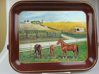 Vintage Metal Horse & Farm Scene Seed Company Advertising Tray, First the Seed