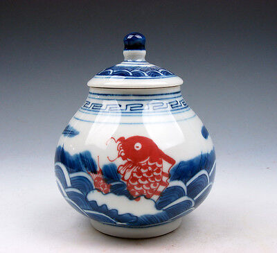 Blue&White Ox-Blood Red Porcelain Water Waves Carp Fishes Water Jar #05231606