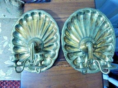 """Matched Pair of Solid Brass Wall Sconces 14"""" x 11"""" x 5.5"""""""