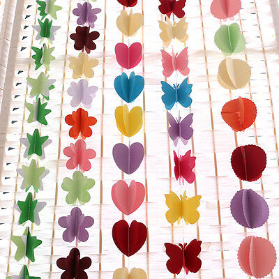 3D Star Paper Garland Bunting Drop for Party Baby Shower Wedding Heart Butterfly