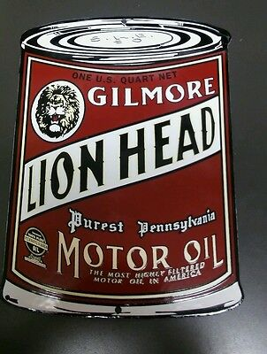 GILMORE Lion Head Can Gasoline Oil/Gasoline Porcelain Advertising Sign