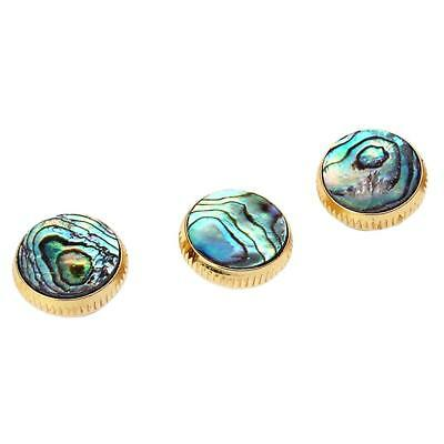 Set of 3pcs Gold Plated Abalone Shell Inserted Trumpet Finger Buttons 16mm