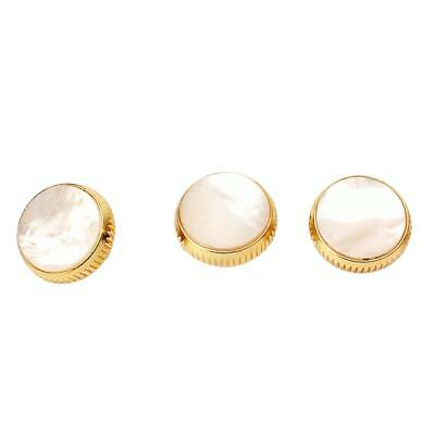 Set of 3pcs Gold Plated White Shell Inserted Trumpet Finger Buttons 16mm
