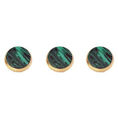 Set of 3pcs Gold Plated Malachite Inserted Trumpet Finger Buttons 16mm Gift