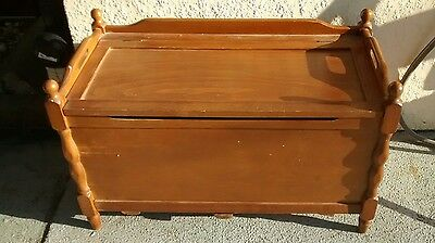 Vintage Toy Box Wood Wooden Chest Trunk w Handles