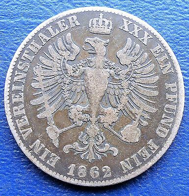 .900 Silver 1862-A German States PRUSSIA 1 Thaler Wilhelm I Nice Toned # 704