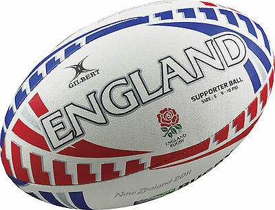 Rugby World Cup Supporter Rugby Ball Size 5 by Gilbert - England w Hand Pump
